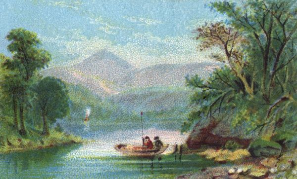 Two men in a small boat are dwarfed by the brooding mountains in the distance. Lush green trees line the banks of the lake. Date: 1870s