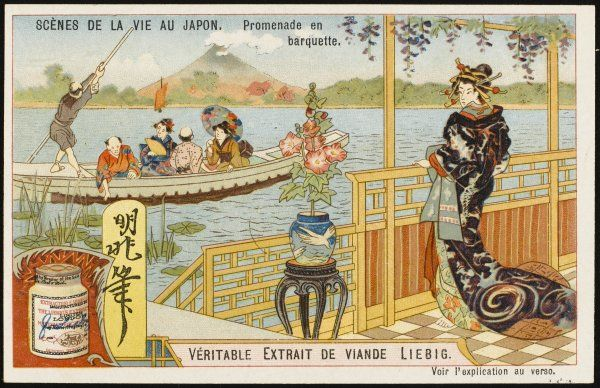 A Japanese boating party, in what appears to be a kind of punt