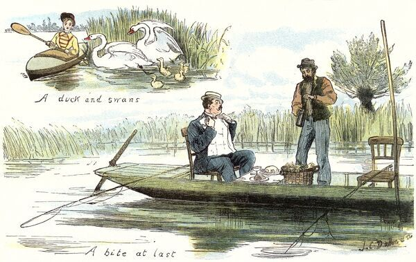 Illustration showing two scenes of boating on the River Thames, during the Summer of 1879