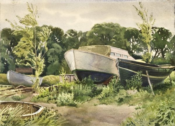 Boats pulled up out of the water, possibly in the Norfolk Broads. Watercolour painting by Raymond Sheppard