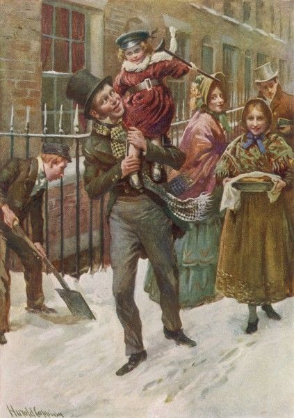 Happy at the prospect of a hearty Christmas dinner, due to the generosity of the reformed Ebenezer Scrooge, Bob Cratchit carries his son Tiny Tim on his shoulder!