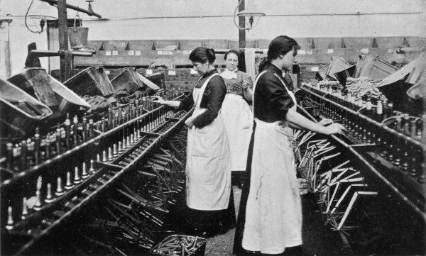 Bobbin winding in a Lancashire cotton mill