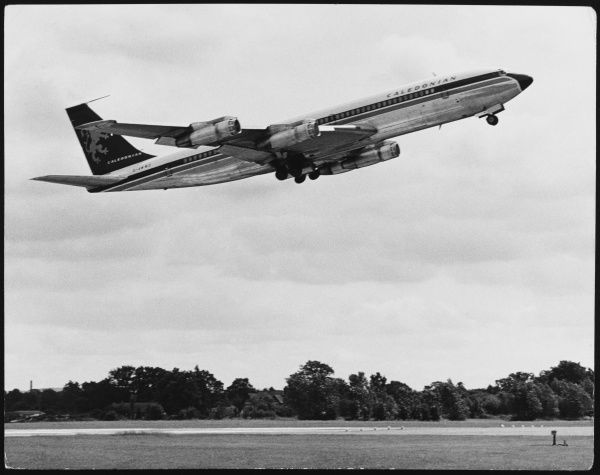A Boeing 707 plane taking off from London Gatwick Airport