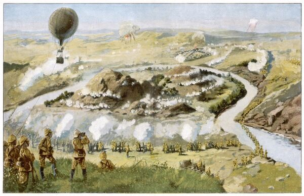FIGHTING SCENE The Battle of Parderberg - a hot air balloon flies over the scene. Cronje later surrenders