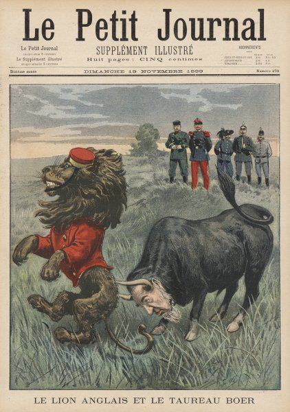 CARTOON The Boer Bull, with the face of Paul Kruger, charges the British Lion