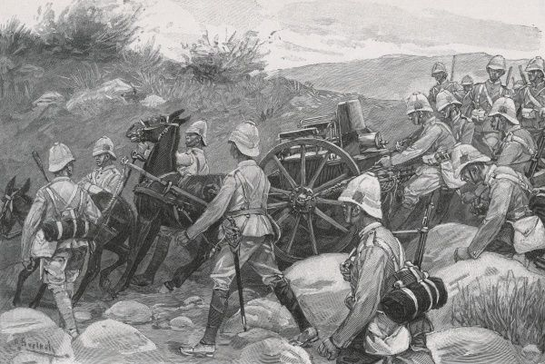 British troops manoeuvring a Maxim gun in rough terrain