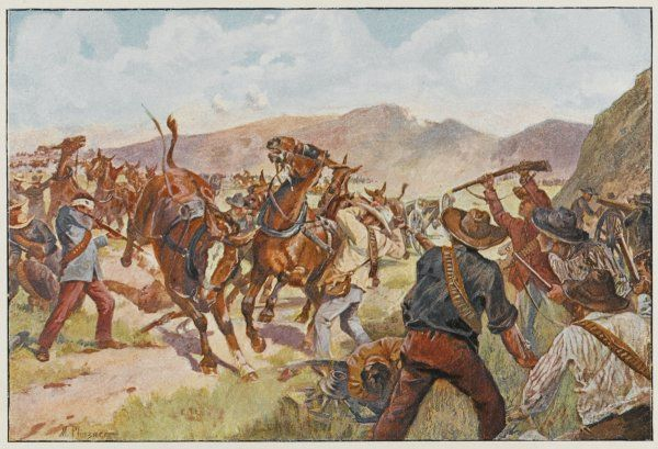 MODDERSPRUIT (Modder River) Boers under Cronje attack Lord Methuen's column but are driven from their positions : the mules suffer as many losses as the men