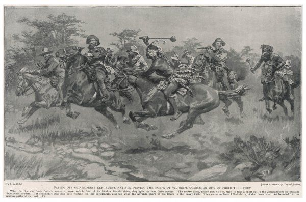 Mounted Zulu warriors in action against Boer troops