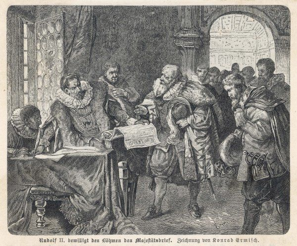 Holy Roman Emperor Rudolf II grants the Bohemians greater religious freedom by issuing the Majestatsbrief (Letter of Majesty)