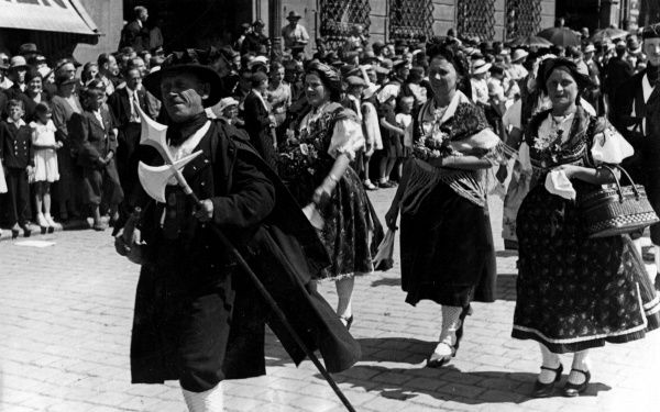 Germanic racial types of Silesia and southern Bohemia taking part in a festival parade. Date: 1930s