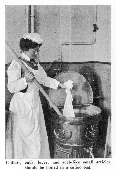 "A photograph demonstrating the boiling of ""collars, cuffs, laces, and such-like small articles"" in a calico bag during the arduous process of washday"