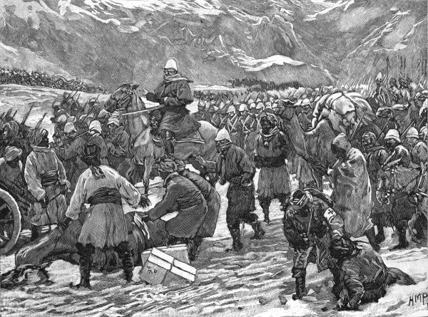 British advance into Afghanistan through the Bolan Pass, in appalling wintry conditions which take toll of men and animals alike