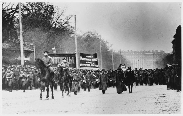 A Bolshevik demonstration processes along the Nevski Prospekt at Petrograd (St Petersburg as was and as will again be.)