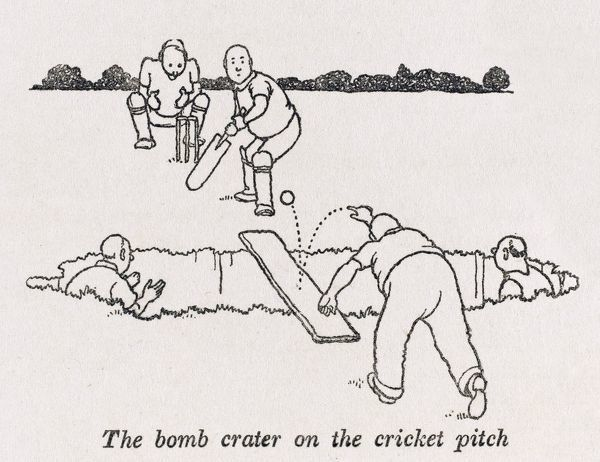 Not even a five foot deep bomb crater on the cricket pitch can stop play when a simple wooden plank will allow the game to continue