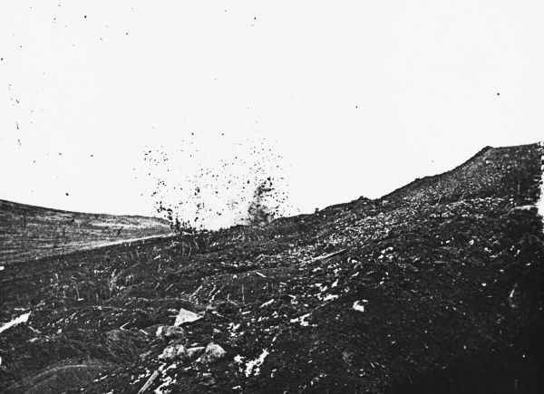 The explosion after a German bomb during World War I