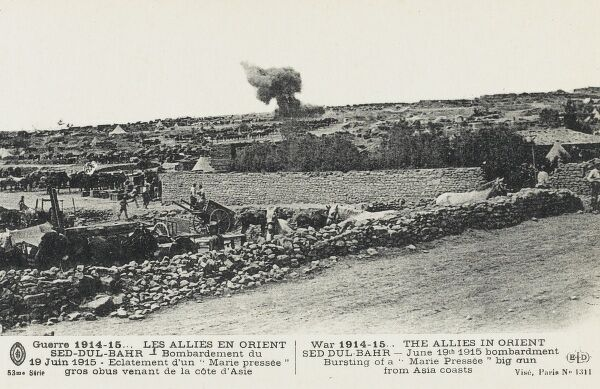 Allied forces and encampments being bombared by Turkish forces from the Asian side of the Dardanelles during the Gallipoli campaign - June 19th 1915
