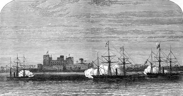 Bombardment of Fort Masnaah, Gulf of Oman, by two vessels of the Royal Navy, H.M.S. Rifleman and H.M.S. Philomel and the Hugh Rose, a vessel from the Bombay Marine service. This engagement took place on 27 March 1874. The fort belonged to Syud Tourkie