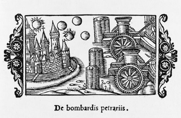 Bombards firing on a city