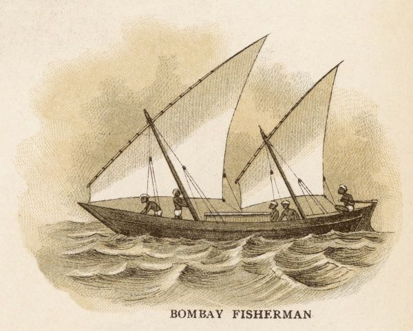 Two-masted sailing boat used by the fishermen of Bombay