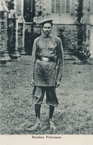 Policeman in uniform from Bombay (Mumbai), India