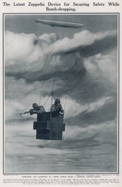 In order to improve the safety and accuracy of airship bombing, bomb-aimers survey the landscape below the clouds by using a suspended car