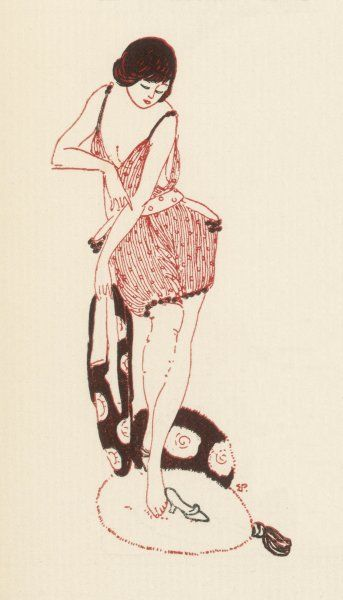 A woman in a pair of cami- knickers & stockings kicks off her mules