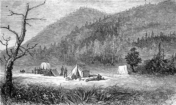 Engraving showing the settlement of Bonanza, Sagnache County, Colorado, 16th July 1880. In 1880 it was just a few tents, but by 1881 Bonanza had become a large town