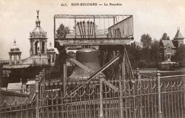 Bonsecours, France - Le Bourdon (heavy bell) - The 'Big Leon' is a drone, a big bell of over 6 tons melted in the workshops Drouot in Douai, in the North in 1892. It was originally to be placed in the steeple of the Basilica at Bonsecours