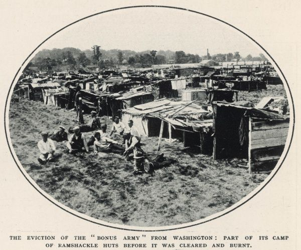The eviction of the 'Bonus Army' from Washington: part of the camp of ramshackle huts before it was cleared and burnt