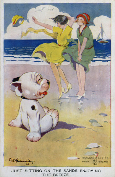 Just sitting on the sands enjoying the breeze. Bonzo on the beach watching the girls skirts being blown up by the wind. Date: 1926