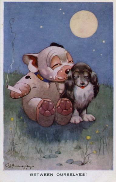 Between ourselves. Bonzo smoking cuddling up to female dog under the moonlight. Date: 1927