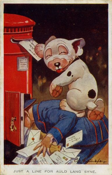 Just aline for Auld Lang Syne. Bonzo standing on a postman to mail his letter. New Year wishes. Date
