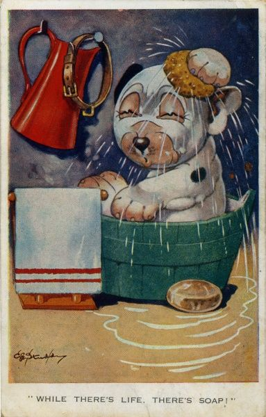 While there's life, there's soap! Bonzo having a bath, using sponge, soap, towel, water jug. Date: 1928