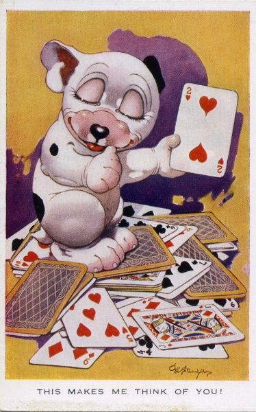 This makes me think of you. Bonzo holding the two of hearts sitting in a pile of playing cards Date: 1927