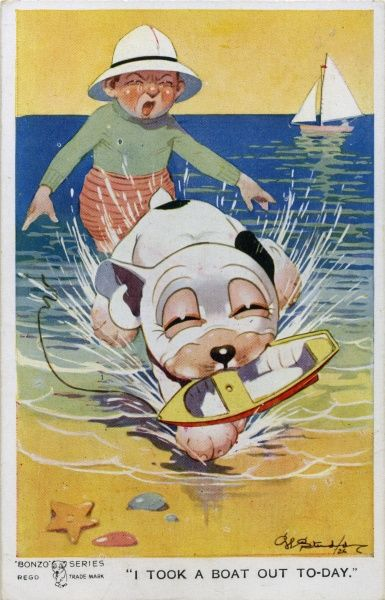I took a boat out today. Bonzo running off with a child's toy boat with the child crying in the background. Date: 1926