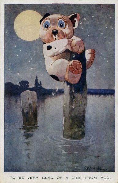 I'd be very glad of a line from you. Bonzo stuck on a post in open sea at night. Full moon. Date: 1928