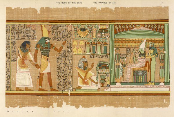 PAPYRUS OF ANI The dead Ani, judged innocent, is presented by Horus to Osiris. He kneels with whitened hair