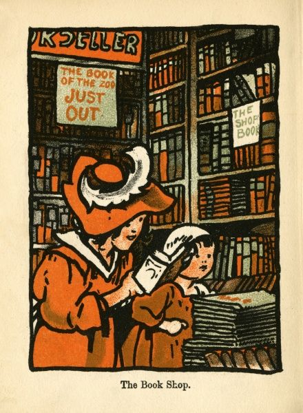 Two girls (one hardly older than a toddler!) look through a variety of volumes in a Bookshop