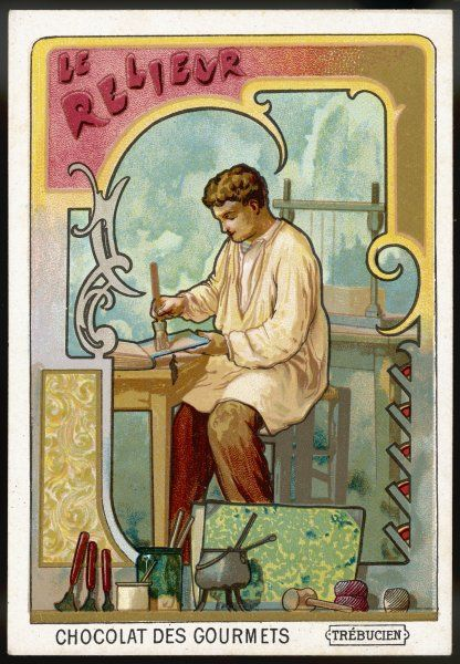 Le relieur - BOOKBINDER - with his press and other tools of his trade