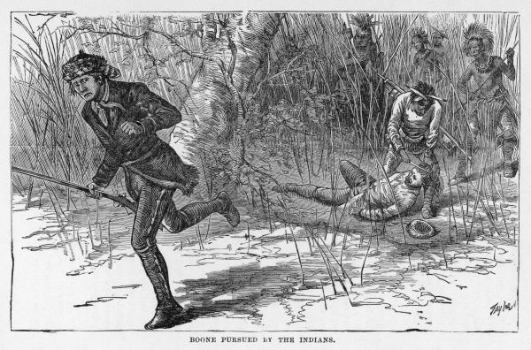 Daniel Boone escaping capture from the Indians, his companion is not so lucky and is scalped