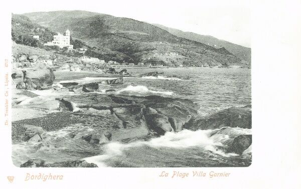 Bordighera, Italy - The beach and Villa Garnier - very close to the border with France on the Mediterranean Sea. Date: 1905