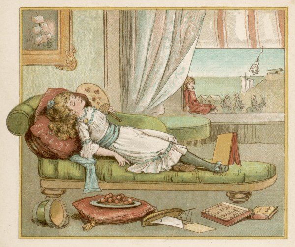 A bored little girl sleeps on a chaise longue
