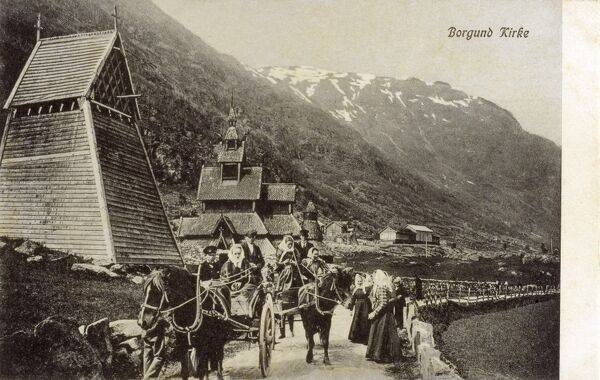 Borgund Stave Church, Norway - two familes return from the church in horse drawn carts Date: circa 1910s
