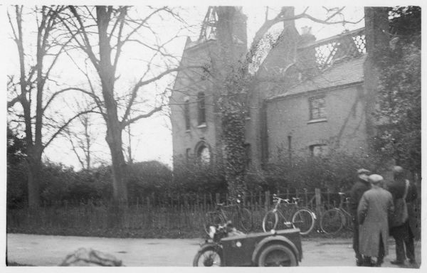 Borley Rectory, the morning after the fire which destroyed much of the house Date: February 1939