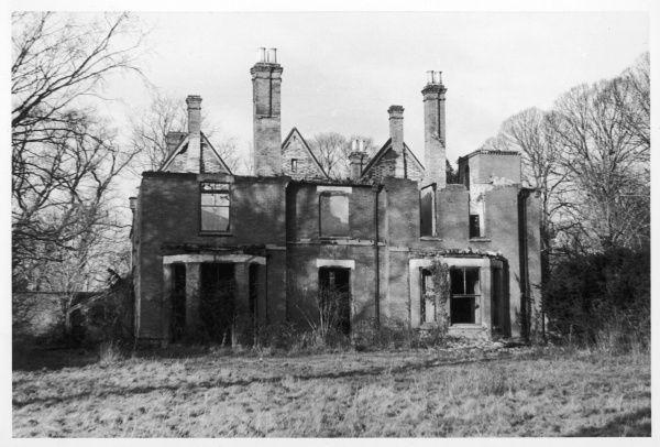 The ruins of Borley Rectory, seen from the front, after five years of neglect following the fire