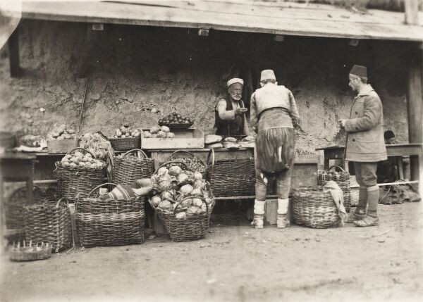 Bosnia & Herzegovina - Street Grocer (selling fruit, vegetables and bread) from large wicker baskets