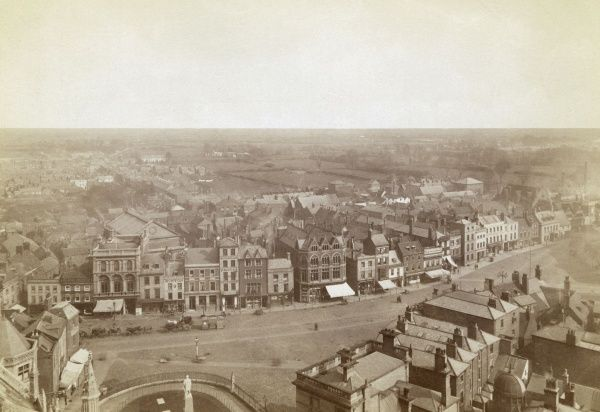 Bird's-eye view of Boston, Lincolnshire, presumably viewed from the church tower. Date: circa 1890s