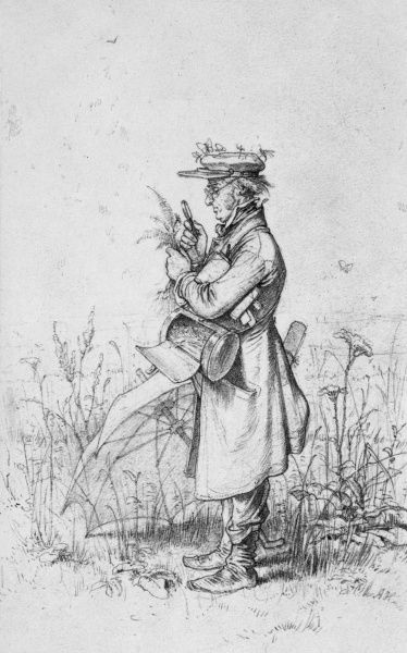 A botanist at work, studying a plant with a magnifying glass. Date