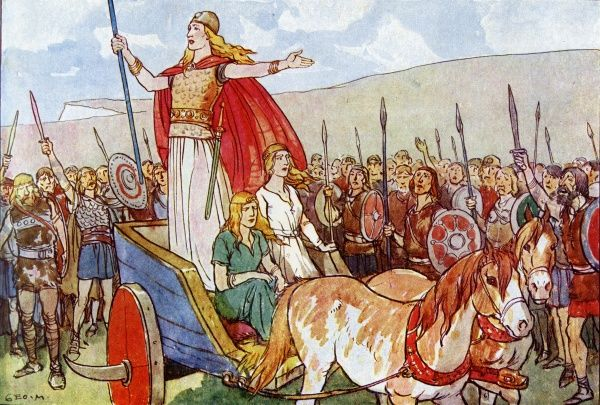 Boudicca, Queen of the Iceni Tribe, addressing her troops from a small chariot before going into battle against the Romans. During this battle it became very clear that the Romans would win, so, instead of being captured by them, she took poison