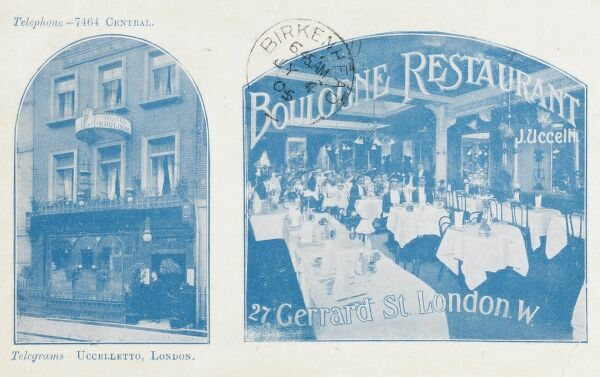 The Boulogne Restaurant (exterior and interior) on Gerrard Street, London